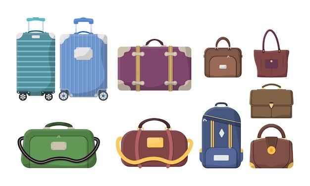 Diferentes tipos de bagagem. malas de plástico, metal, mochilas, malas para compras de turismo de férias de viagem. mala grande e pequena, bagagem de mão, transporte de animais, caixa, bolsa. .