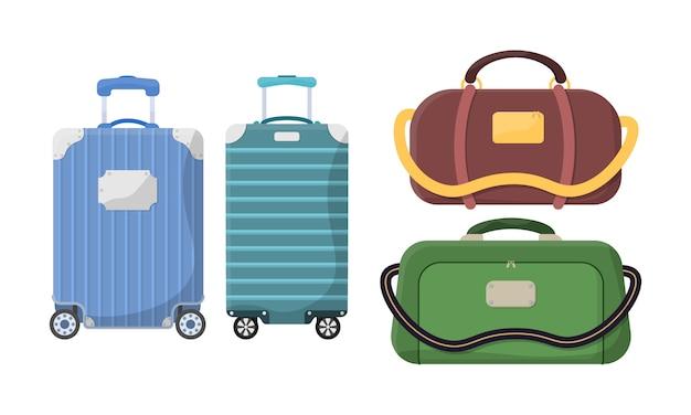 Diferentes tipos de bagagem. malas de plástico, metal, mochilas, malas para compras de turismo de férias de viagem.