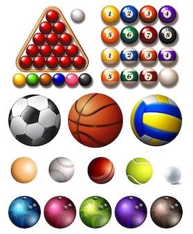 Diferentes tipos de bolas de muitos esportes