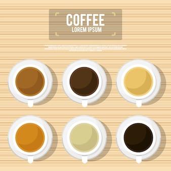 Diferentes tipos de café, chocolate e cacau na mesa de madeira