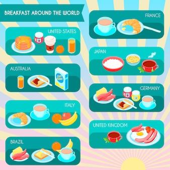 Diferentes tipos de café da manhã no mundo infográfico definir ilustração vetorial