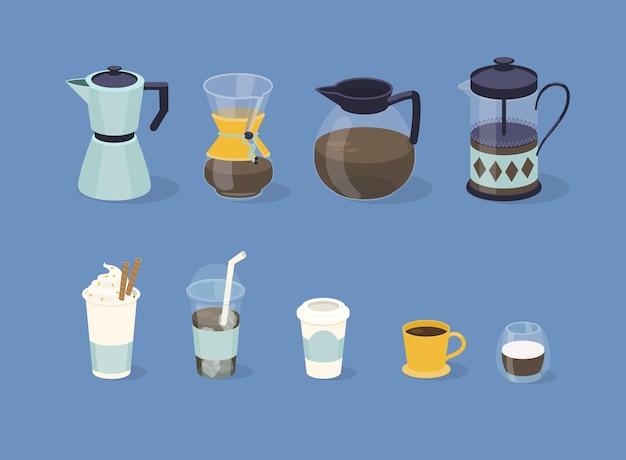 Diferentes tipos de café em copo de papel e vidro.