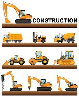 Diferentes tipos de caminhões de construção no terreno