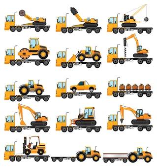 Diferentes tipos de caminhões de construção
