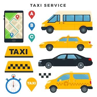 Diferentes tipos de carros de táxi e placas de táxi