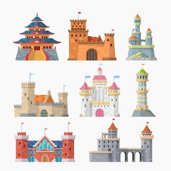 Diferentes tipos de castelos simples isolados
