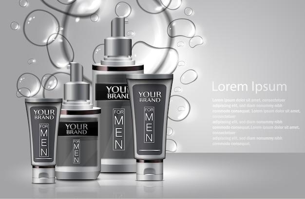 Diferentes tipos de cosméticos para homens com bolhas