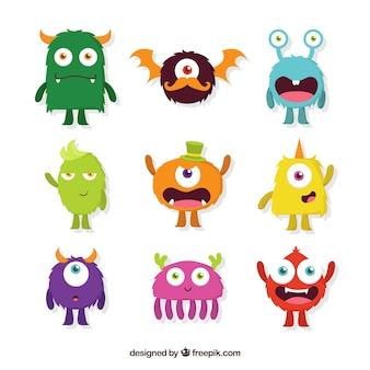 Diferentes tipos de desenhos de personagens de monstros