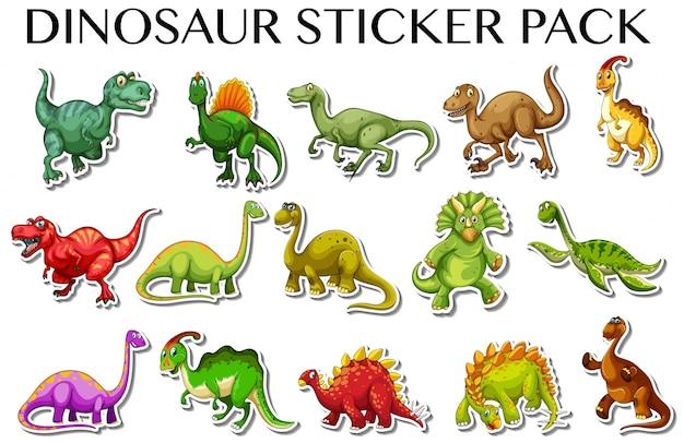 Diferentes tipos de dinossauros na ilustração de design de adesivos