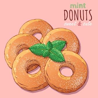 Diferentes tipos de donuts decorados com açúcar em pó e hortelã.