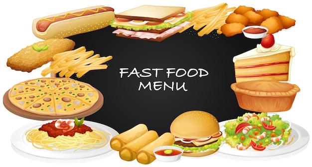 Diferentes tipos de fastfood no menu