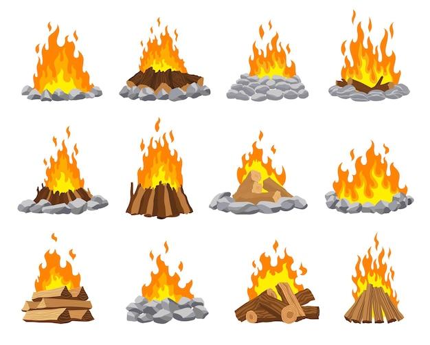 Diferentes tipos de fogueira de acampamento