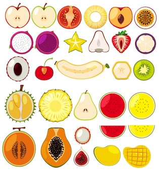 Diferentes tipos de frutas cortadas ao meio