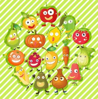 Diferentes tipos de frutas e vegetais