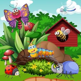 Diferentes tipos de insetos no jardim
