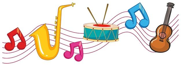 Diferentes tipos de instrumentos com notas musicais de fundo