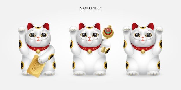 Diferentes tipos de maneki-neko branco, gato sortudo do japão.