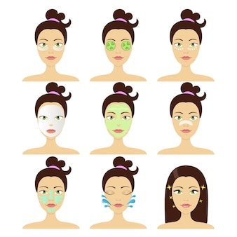 Diferentes tipos de máscaras cosméticas faciais. conceito de beleza e cuidados com a pele
