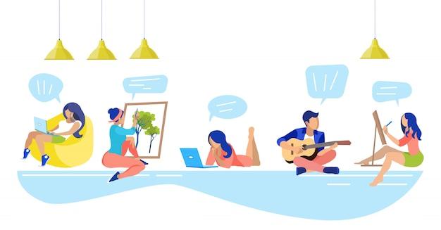 Diferentes tipos de pessoas hobbies no centro de coworking