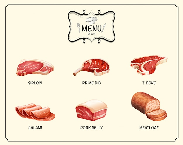 Diferentes tipos de produtos de carne