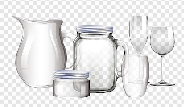 Diferentes tipos de recipientes feitos de vidro