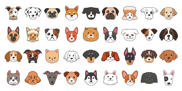 Diferentes tipos de rostos de cachorro dos desenhos animados para design.