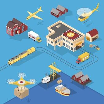 Diferentes tipos de serviços de entrega. navio e caminhão, aeronave e ferrovia. rede logística mundial. ilustração isométrica
