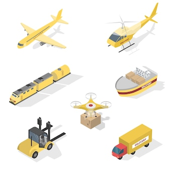 Diferentes tipos de serviços de entrega. navio e caminhão, aeronave e ferrovia. rede logística mundial. ilustração vetorial isométrica isolada