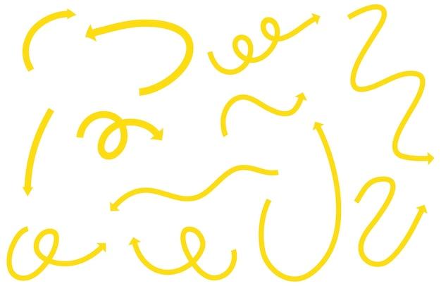 Diferentes tipos de setas curvas desenhadas à mão amarela em branco