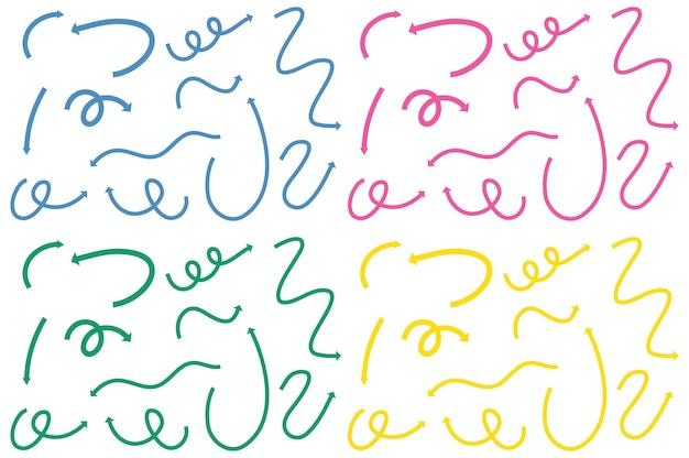 Diferentes tipos de setas curvas desenhadas à mão em branco