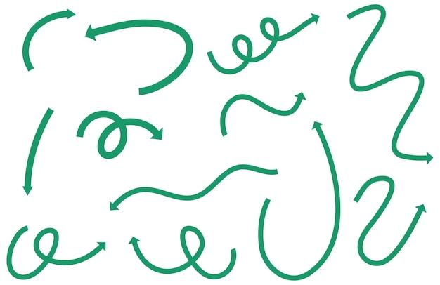 Diferentes tipos de setas curvas desenhadas à mão verde no fundo branco