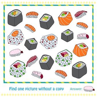 Diferentes tipos de sushi desenhados à mão - jogo para crianças