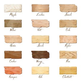 Diferentes tipos de tábuas de madeira