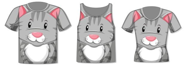 Diferentes tipos de tops com padrão de gato fofo