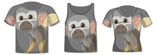 Diferentes tipos de tops com padrão de macaco