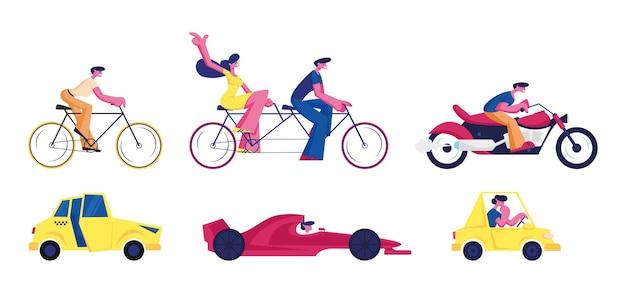 Diferentes tipos de transporte e passageiros conjunto isolado no fundo branco. bicicleta, bicicleta tandem moto táxi táxi corrida e carro sedan. pessoas usando ilustração vetorial plana de desenho animado, clip-art