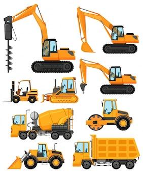 Diferentes tipos de veículos de construção