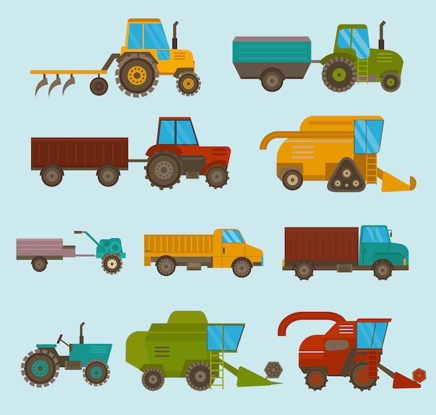 Diferentes tipos de vetor de veículos agrícolas e colheitadeiras, colheitadeiras e escavadeiras. conjunto de ícones de colheitadeira agrícola com acessórios para arar, cortar, plantar e colher