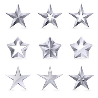 Diferentes tipos e formas de estrelas de prata