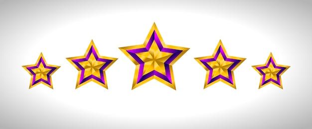 Diferentes tipos e formas de estrelas douradas. ilustração para desenho em fundo branco