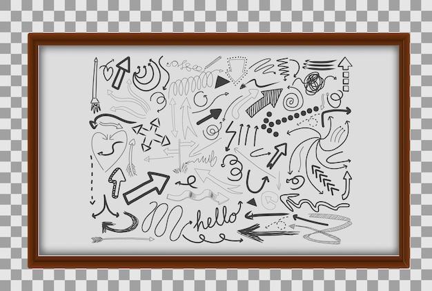 Diferentes traços de doodle em moldura de madeira em fundo transparente