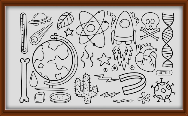 Diferentes traços de doodle sobre equipamentos científicos em moldura de madeira