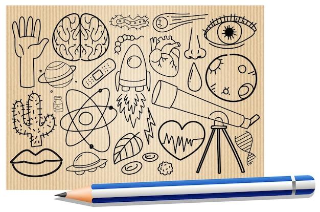 Diferentes traços de doodle sobre equipamentos científicos em um papel com um lápis