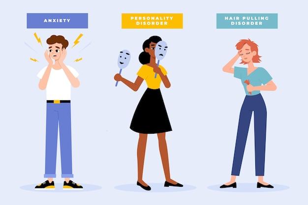 Diferentes transtornos mentais ilustrados