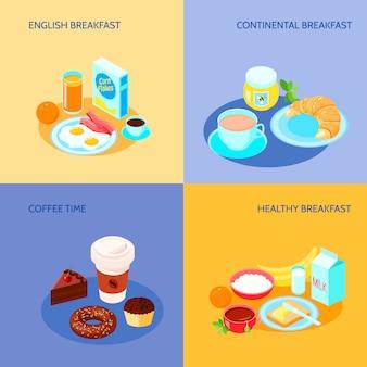 Diferentes variantes do conjunto de bandeira plana de ícones de pequeno-almoço