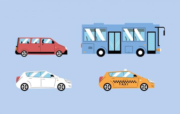Diferentes veículos de transporte, transporte urbano