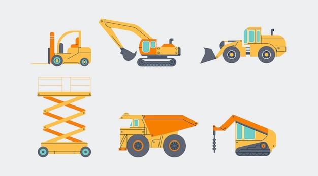 Diferentes veículos industriais em design plano