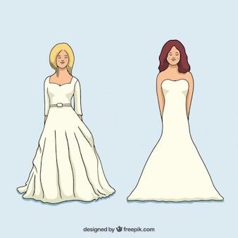Diferentes vestidos de noiva