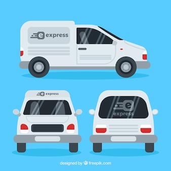 Diferentes vistas do caminhão de entrega