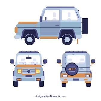 Diferentes vistas do clássico carro off road
